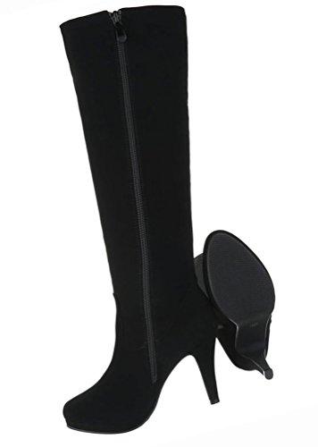 Damen Schuhe Stiefel High Heels Stiletto Schwarz Schwarz
