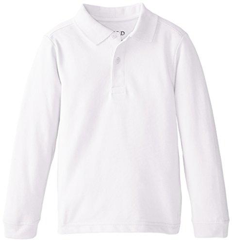 IZOD Little Boys' Long Sleeve Uniform Polo, White, Large by IZOD