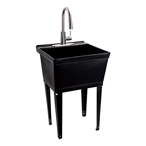 Black Utility Sink Laundry Tub With High Arc Stainless Steel Kitchen Faucet By MAYA - Pull Down Sprayer Spout, Heavy Duty Slop Sinks For Washing Room, Basement, Garage, or Shop, Free Standing Tubs
