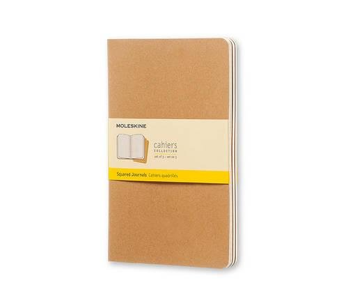 Moleskine Cahier Journal (Set of 3), Large, Squared, Kraft Brown, Soft Cover (5 x 8.25): set of 3 Square Journals