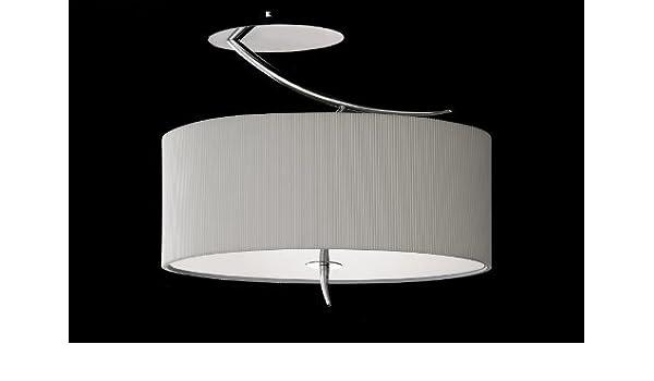 Semiplafón circular y Base Ovalada en tela plisada y cristal ...
