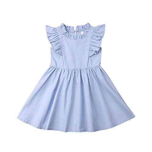 Girls Ruffle Dress (bebiullo Baby Girl Toddler Ruffle Pleated Dress Cotton Sleeveless A Line Casual Dress Summer for 1-6T (4-5 Years Old,)