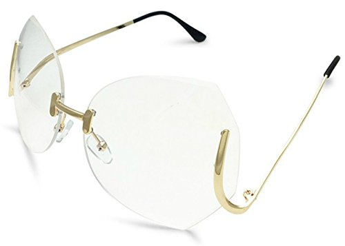 e1f6bce2001 Rimless OVERSIZED VINTAGE Style Clear Lens SUN GLASSES Upside Down Gold  Frame - Buy Online in Oman.