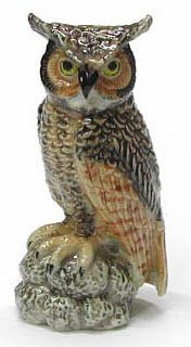 GREAT HORNED OWL sits on Rock MINIATURE Porcelain NORTHERN R