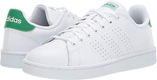 adidas Men's Advantage Tennis Shoe, White/White/Green, 9 M US