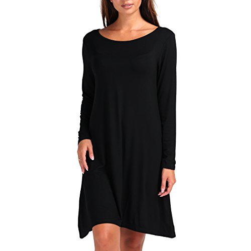 Shiziban Plus Size Womens Casual Swing Loose Fit Comfy Flattering Tunic Tops Flare Short Sleeve T Shirt Dress  Xxxx Large  Long Sleeve Black