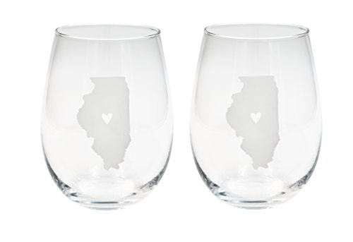 About Face Designs 186727 State of Illinois (Set of 2) Stemless Wine Glass, 16 oz, Clear