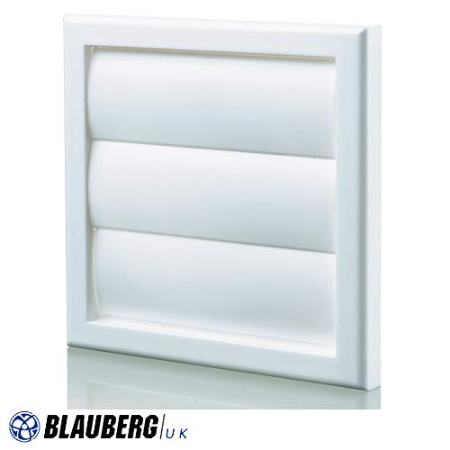 Blauberg UK DECOR 155X155/100G WHITE 4 Inch 100 mm Round Plastic Ducting And Fittings For Extractor Fan Ventilation - Gravity Shutter Flaps - 100mm - White - Gravity Shutter - 100mm - White