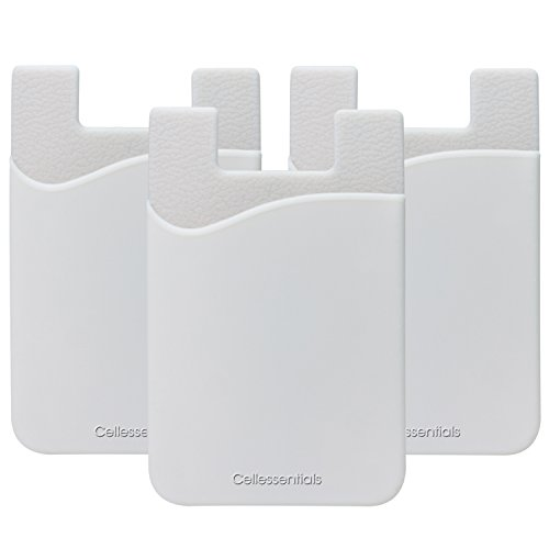 Cell Phone Wallet by Cellessentials: (For Credit Card & Id) iPhone, Android & Most Smartphones | 3 Pc Pack - White Silicone Mobile