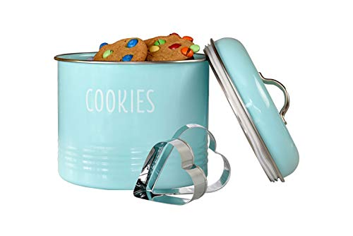 Outshine Vintage Cookie Jar with Airtight Lid, Cute Cookie Container with 2 Bonus Cookie Cutters, Decorative Kitchen Food Storage Holder for Cookies, Biscuits, and Baked Treats, Mint
