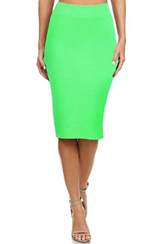 Simlu Women's Below The Knee Pencil Skirt for Office Wear - Made in USA Lime -