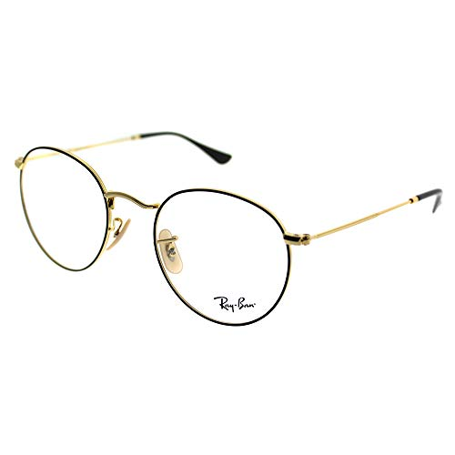 Ray-Ban Men's RX3447V Round Metal Eyeglasses Gold On Top Black ()