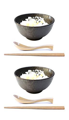 2 sets (6 piece) Speckled Small Black Asian Ceramic Chawan Japanese Porcelain Rice Bowl Set Unique Design for Appetizers Desserts Salads