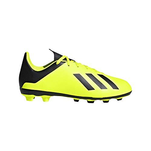 adidas Unisex-Kid's X 18.4 FxG Soccer Shoe, Solar Yellow/Black/Solar Yellow, 5 M US Big Kid