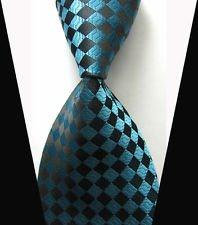 jacob alex #38589 Classic Necktie Black & Blue Plaids WOVEN JACQUARD Silk Men's Suits Tie - Mlb Necktie