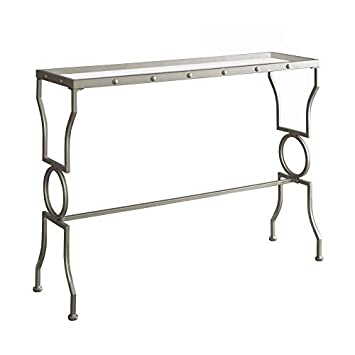 Monarch Specialties I 3325 Tempered Glass Console Table Silver