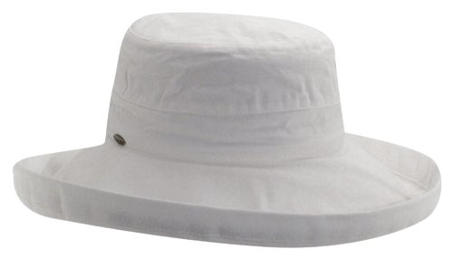 Scala Women's Cotton Hat with Inner Drawstring and Upf 50+ Rating,White,One Size (Sizes Womens Hat)