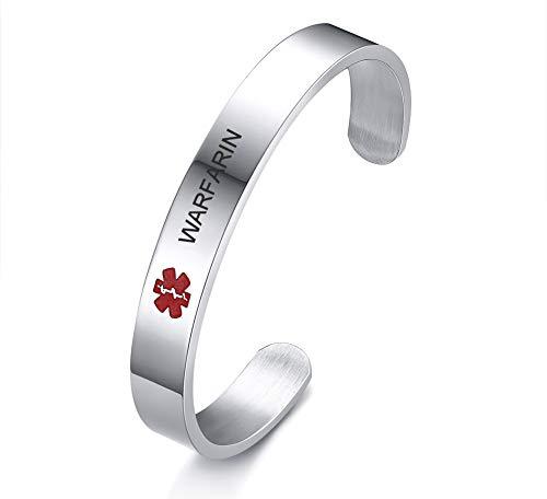 VNOX Medical Condition Alert ID WARFARIN 10MM Stainless Steel Open Cuff Bangle Bracelet for Men Women,8.0