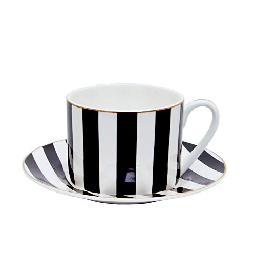 (Colias Wing 9 OZ Simple Black&White/Yellow&White Vertical Stripes Pattern with Golden Edge Stylish Design Ceramic Tea Cup Coffee Mug Travel Mug with Saucer(Yellow/Black))