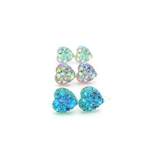 Trio Gift Set, Sparkly Heart Earrings on Plastic Posts, Aqua, Pale Pink, Clear