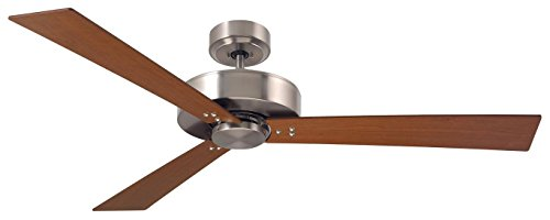 Emerson Lighting CF320CBS Keane Brushed Steel Ceiling Fan, Natural Cherry/Walnut Cherry Brushed Steel