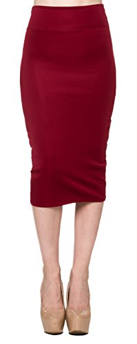 (Apparel Sense A.S Techno Bodycone Pencil Tight High Waist Midi Skirt-Burgundy-Small)