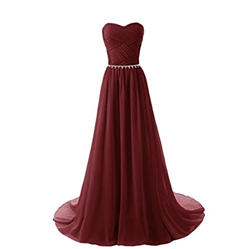 Aurora Bridal Womens Long Chiffon Bridesmaid Dresses 2018 Prom Gowns Size 12 Burgundy