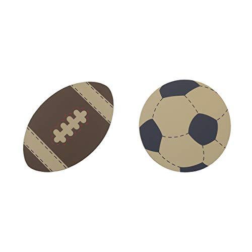 NoJo My Little MVP 2 Piece Wooden Wall Art Soccer/Football, Tan, Brown, Navy