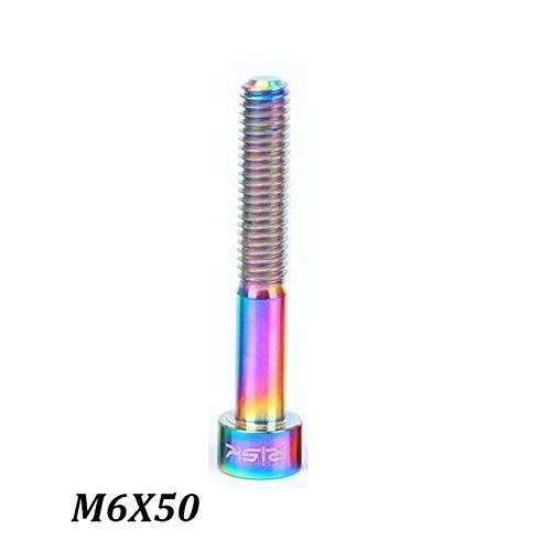 BeesClover 1pcs M6x30/35/40/50 mm Titanium Ti Alloy MTB Bike Headset Bolts Mountain Bicycle Stem Top Cap Bolt Screws M630 35 40 50 mm Rainbow M6x50mm One Size