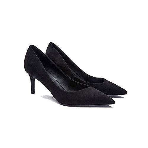 Profesionales eu Fine Ladies 40 Mujer Zapatos 7 Cuero Heels Tips High Lambs Scrubs black Court 6 Sexy De Black Shoes uk 5cm FwqxwUC