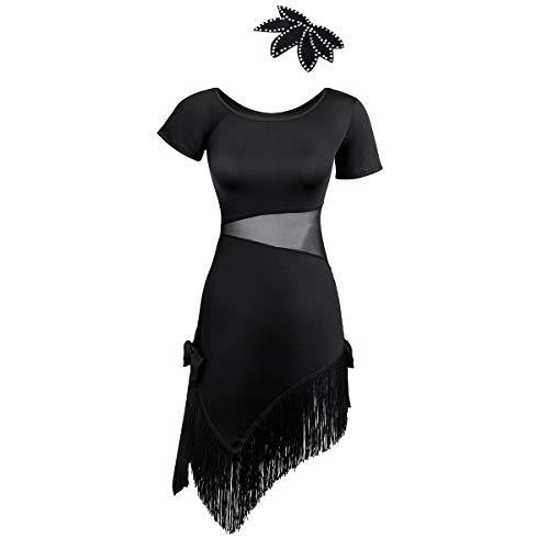 (Alvivi Ladies Girls Lyrical Dance Costume Sweetheart Shiny Sequins Ballet Dance Dress Bodysuit Black Short Sleeves Medium)