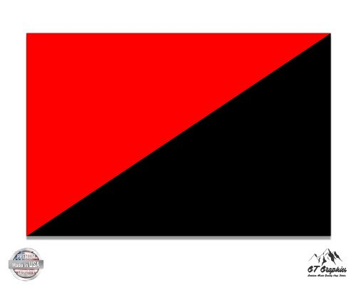Red And Black Anarchy Flag   3  Vinyl Sticker   For Car Laptop I Pad Phone Helmet Hard Hat   Waterproof Decal