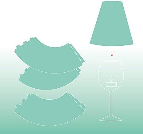 3 Weinglas Lampenschirme uni DIE ZARTE HELENE mint aus Transparentpapier