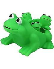 POPETPOP 4 Stuks Baden Speelgoed Squeeze Dier Speelgoed Kikker Familie Bad Speelgoed Cartoon Sound Animal Bad Speelgoed Voor Peuters Kinderen