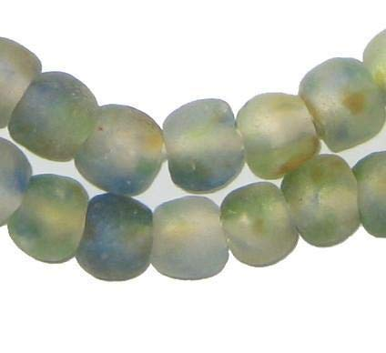 African Recycled Glass Beads - Full Strand Eco-Friendly Fair Trade Sea Glass Beads from Ghana Handmade Ethnic Round Spherical Tribal Boho Krobo Spacer Beads - The Bead Chest (11mm, Earth Swirl)
