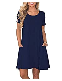 SooGood Women's Summer Casual Solid T Shirt Dresses Short Sleeve with Pockets