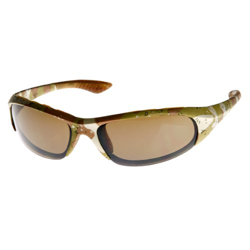 zeroUV - Military Print Camouflage Active Sports Wrap Sunglasses (Desert - Military Sunglasses Desert