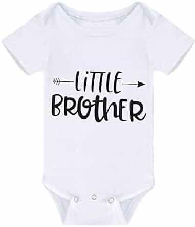 0de8c6f05 Newborn Baby Boy Outfits Short Sleeve Romper Little Brother Bodysuit Funny  Jumpsuit White Black Clothes Summer