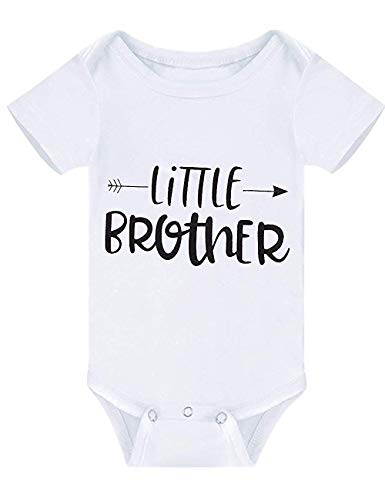 (Newborn Baby Boy Outfits Short Sleeve Romper Little Brother Bodysuit Funny Jumpsuit White Black Clothes Summer (White, 0-3 Months))