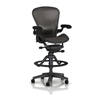 Herman Miller Aeron Stool Work Chair - Highly Adjustable Arms - Classic Carbon Graphite Frame Low  sc 1 st  Amazon.com & Amazon.com: Herman Miller Classic Aeron Work Stool: Highly Adj w ... islam-shia.org