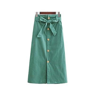 Elegant Solid midi Skirt Elastic Paperbag Waist Pockets Vintage mid Calf Skirts BA107