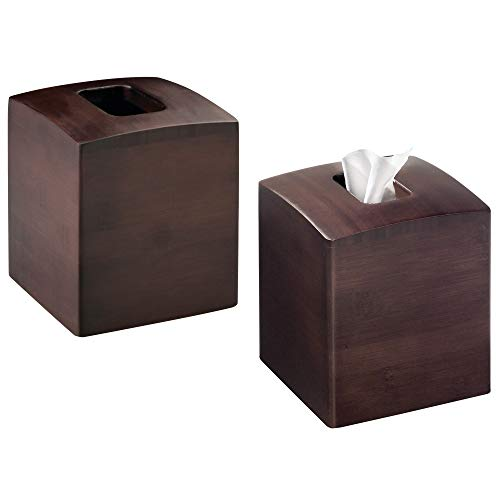 mDesign Square Dark Wood Bamboo Facial Tissue Paper Boutique Box Cover Holder for Bathroom Vanity Counter Tops, Bedroom Dressers, Night Stands, Desks and Tables - Set of 2, Espresso
