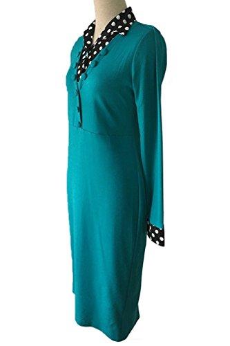 Cinturón Empalme Manga Cóctel Con Vestido Mujeres Vestido Larga V Bodycon Vestido Verde Lunares Fiesta Minetom Los cuello De 6ZI86qa