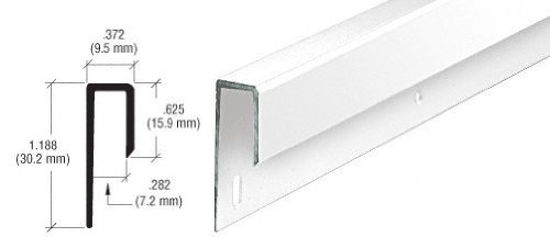 CRL White Electro-Static Paint 1/4 Deep Nose Aluminum J Channel - 12 ft long by C.R. Laurence