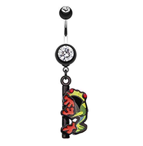 (Dangling Gem Frog 316L Surgical Steel Freedom Fashion Belly Button Ring (Sold by Piece) (14GA, 3/8