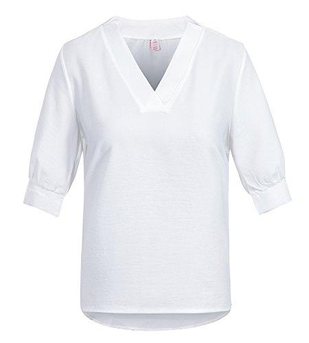 Beauty7 Camisetas Mujer Verano 3/4 Mangas V Cuello Color Puro Tabajo Tarjeta Formal Camisas Blusas T Shirt Tee Tops Parte Superior Casual Ocasional Blanco