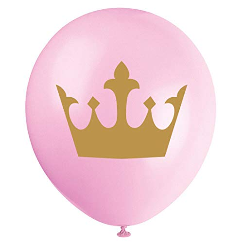 MAGJUCHE Pink Little Princess Balloons, 16pcs Gold Girl Crown Baby Shower or Birthday Party Decorations, Supplies -