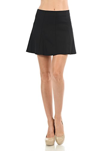 Maryclan Women's Basic Solid Color Pleated Mini Flare Skirt With Invisible Back Zipper (Large, Black) from Maryclan