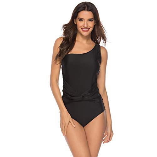 Legs Scrunched - Alangbudu Women One Shoulder Push Up Ruced Tankini Tummy Control Swimwear Swimsuit One Piece High Leg Athletic Bathing Suit Black
