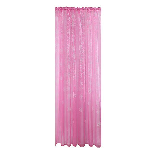 1PCS Christmas Snowflake Curtain Tulle Window Treatment Voile Drape Valance ()